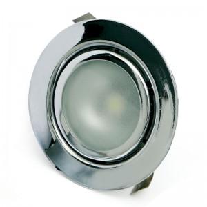 FOCO EMBUTIR 1 LED ALTA POTENCIA LUZ BLANCO 1W CROMO AMP,NO INCLUYE TRANS,3.6V/350mA,CABLE 50cm