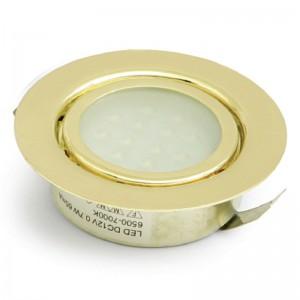 FOCO EMBUTIR 12 LEDS BAJA POTENCIA LUZ BLANCO 0,7W ORO AMP,NO INCLUYE TRANSF.,12V/60mA,CABLE 50cm