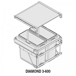 MODULO CUBO BASURA DIAMOND M600 2x36Lts.