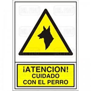 """SEÑAL 301 PLÁSTICO 490x345 """"CUIDADO PERRO"""" ATENCION! CUIDADO CON EL PERRO"""