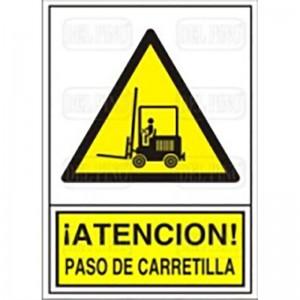 """SEÑAL 325 ADHESIVA 148x105""""PAS.CARRETILL ATENCION! PASO CARRETILLA"""