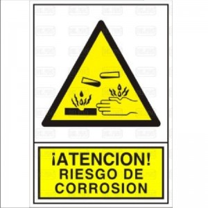 SEÑAL 354 PLAST.345x245 RIESGO CORROSION ATENCION! RIESGO DE CORROSION