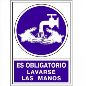 """SEÑAL 670 PLÁSTICO 345x245 OBLIGATORIO LAVARSE LAS MANOS"""""""""""