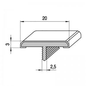 PERFIL EMBUTIR FORMA T 3M A20 PLATA MATE PERFIL EMBELLECEDOR P/PTAS Y MUEBLES.