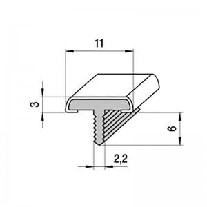PERFIL EMBUTIR FORMA T 3M A11 PLATA MATE PERFIL EMBELLECEDOR P/PTAS Y MUEBLES.