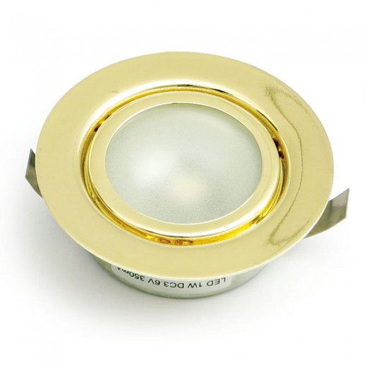 FOCO EMBUTIR 1 LED ALTA POTENCIA LUZ BLANCO 1W ORO AMP,NO INCLUYE TRANS,3.6V/350mA,CABLE 50cm