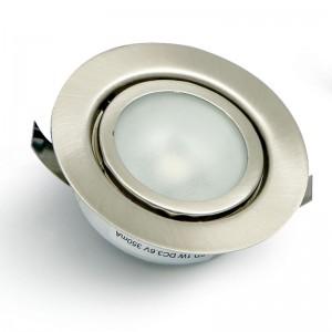 FOCO EMBUTIR 1 LED ALTA POTENCIA LUZ BLANCO 1W NIQUEL SATINADO AMP,NO INCLUYE TRANS.3.6V/350mA,CABLE 50cm