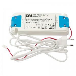 TRANSFORMADOR 50W LEDS 12V DC 220/240V C/CABLE DE ALIMENTACION Y CABLE DE CONEXION.