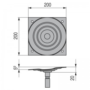 PLACA GIRATORIA 5º 200x200 NEGRO PARA BASE SILLON ALTURA 10mm.