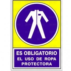 """SEÑAL 643 PLÁSTICO 345x245 OBLIGATORIO USO ROPA PROTECTORA"""""""""""