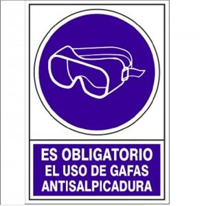 SEÑAL 628 PLÁSTICO OBLIGATORIO EL USO DE GAFAS ANTISALPICADURAS