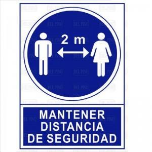 """SEÑAL 1607 PLÁSTICO 345x245 MANTENER DISTANCIA DE SEGURIDAD"""""""""""