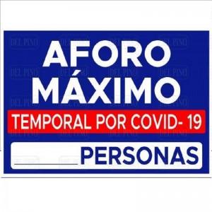 """SEÑAL 1621 PLÁSTICO 297x210 """"AFORO MÁXIMO"""""""